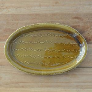 芦田 尚美 / ウキヤマ 楕円皿(茶)